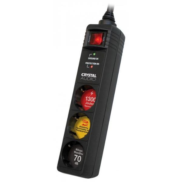 Crystal Audio CP3-1300-70 Μαύρο 3 θέσεων Πολύπριζο αφαλείας